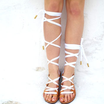 "White lace up Leather Sandals, Greek Sandals, """"Nymph"" anciet Sandals, Summer shoes / barefoot sandals, Valentine's gift for women"
