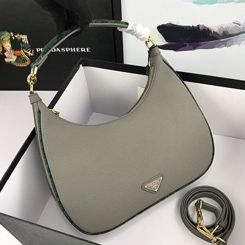 PRADA WOMEN'S LEATHER HANDBAG HOBO BAG
