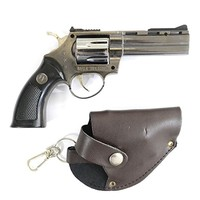 YINO S.M W M66 Revolver Shaped Butane Jet Torch Pistol Gun Style Windproof Cigarette Lighter With PU Leather Case Belt Clip and Keychain Hook