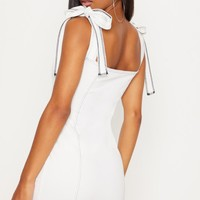 White Contrast Stitch Tie Shoulder Bodycon Dress