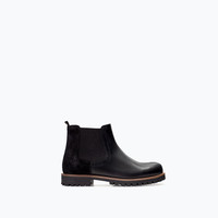 LEATHER ANKLE BOOT WITH ELASTIC DETAIL