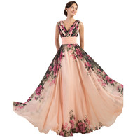 3 Designs Evening Dresses Stock One Shoulder Flower Pattern Floral Print Chiffon Evening Dress Gown Party Long Prom dresses 2017