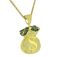 """Money Bag $ Pendant  Canary Simulated Diamonds Stainless Steel Chain 24"""""""