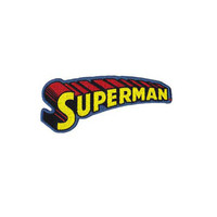 Superman Text Logo Embroidered Iron-On Patch