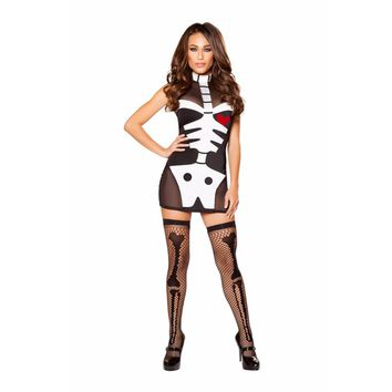 Roma Costume Adult Women Halloween Party Outfit 1 Piece Skeleton Hottie Black/White - Medium