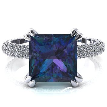 Elley Princess Alexandrite 4 Claw Prong Diamond Accent Engagement Ring
