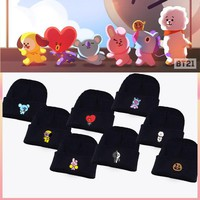 New Kpop Bangtan Boys BTS bt21 Same Fans Club Beanie Hat Hiphop Cap Women Hat Cool TATA VAN COOKY CHIMMY SHOOKY KOYA RJ MANG