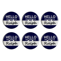 Ralph Hello My Name Is Plastic Resin Button Set of 6