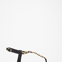 Chained Faux Leather T-Strap Sandals