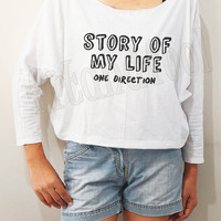 Story Of My Life One Direction Shirts1D Shirt Rock Shirt Bat Sleeve Shirts Crop Long Sleeve Oversized Sweatshirt Women Shirts - FREE SIZE