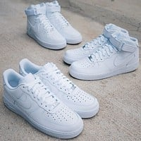 Inseva Nike Air Force 1 Hot Sale Couple Pure White Sneakers Shoes