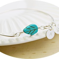 Turquoise Leaf Bangle Bracelet- Initial and Zodiac Personalized Sterling Silver Filled Wire Wrapped Charm Dangles Bracelet- Made to Size