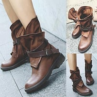 Woman Round Head Artificial Leather Belt Buckle Square Heel Short Boots
