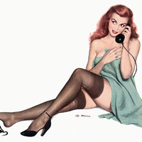 Pin Up Art Redhead On Phone Wearing Black Poster