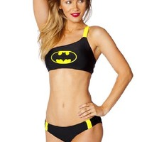 Batgirl Batman One Shoulder Bandeau Panel Low Rise Bikini Set