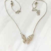 Chrysalis Pewter Silver Butterfly Pendant Necklace
