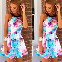 Halter Neck Floral Printed Pleated Mini Dress