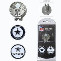Dallas Cowboys NFL Team Golf Cap Clip with 2 Magnetic Enamel Ball Markers