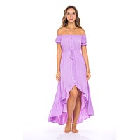 Lost in the Woods Asymmetrical Maxi Dress