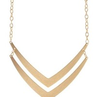 Gold Matte Double Chevron Collar Necklace by Charlotte Russe