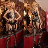 New Sexy Women's Lingerie Criss Cross Open Crotch Sheer Body Stocking F_F (Color: Black) = 1902227204
