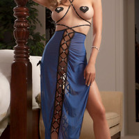 Blue Lace-up with Rhinestone Lingerie