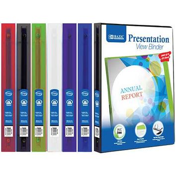 """Case of [48] BAZIC 1/2"""" 3-Ring Binder - Assorted Colors, Clear Presentation Window"""