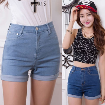 high waist stretch denim shorts Slim Korean   jeans shorts hot pants = 1929893316