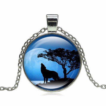 wolf, moon, glass, silver necklace