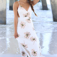 Floral Print Backless Strappy Maxi Dress 10192