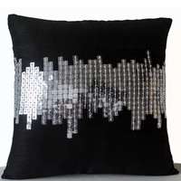 Throw Pillow Covers in Black with Silver Sequin City Scape Embroidery Cushion Couch Pillows 20x20 Decorative Pillows Gifts Accent Pillows