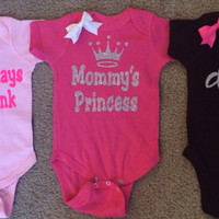 Girl Onesuits -  Body Suit - Glitter  - Onesuit - Ruffles with Love - Baby Clothing - RWL - On Wednesdays - Mommy's Princess - Diva