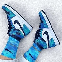 Nike Air Jordan 1 High Tie-Dye Men's and Women's Sneakers Shoes