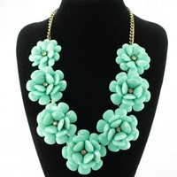 fit&wit Color Golden Plated Chain 7 Flowers Mint Statement Fashion Necklace Turquoise