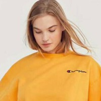 Champion Trending Women Casual Simple Embroidered Logo Velvet Long Sleeve Sweater Pullover Top Yellow I-XS-FSYWZY
