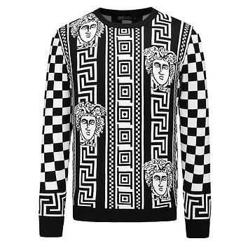Versace Trending Women Men Stylish Long Sleeve Cashmere Knit Sweater Top Sweatshirt