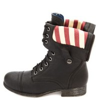 Americana-Lined Fold-Over Combat Boots by Charlotte Russe - Black