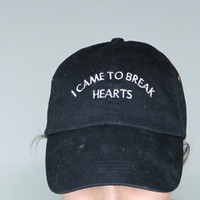 i came to break hearts black baseball cap with white embroidery 100% cotton valdesigns instagram tumblr pinterest