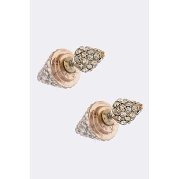 Crystal Spike Double-Sided Earrings