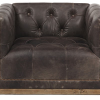 Jackson Tufted Leather Chair, Chocolate, Club Chairs