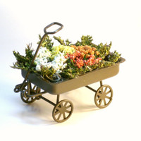 Miniature Plants in Metal Wagon Fairy Garden Dollhouse Flowers