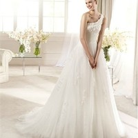 White Ball One Shoulder Applique Tulle 2013 Wedding Dress IWD0188 -Shop offer 2013 wedding dresses,prom dresses,party dresses for girls on sale. #Category#