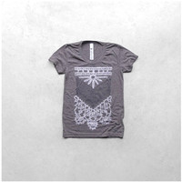 The Nomad - women tshirt | ladies top - tribal chest plate screenprint in white and gray - heather brown womens t shirt - gift for her