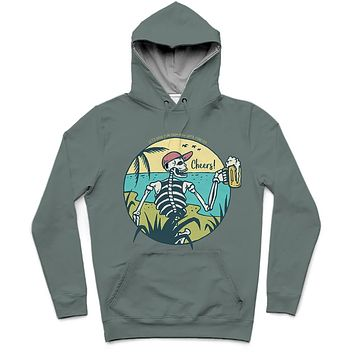 Cheers! Trendy All-Over Print Solid Rolling Stone Hoodie