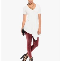 White Lovely V Asmmetrical Tee Shirt Top | $10.00 | Cheap Trendy Blouses Chic Discount Fashion for W