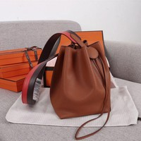 285 Hermes Licol Casual Evercolor Leather Fashion Bucket bag coffee