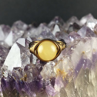 Calcite ring, yellow Calcite, yellow stone ring, gemstone wire ring, wire wrapped ring, natural stone ring, stone ring, bohemian,wire ring