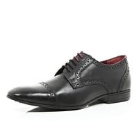 River Island MensBlack leather round toe brogues