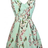 Cherry Blossom Bliss Printed Mint A-Line Dress