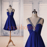 Dark Royal Blue Beaded Short Bridesmaid Dresses,Sexy Prom Dresses, Party Dresses,Cocktail Dresses ,Evening Dress, Wedding Party Dress